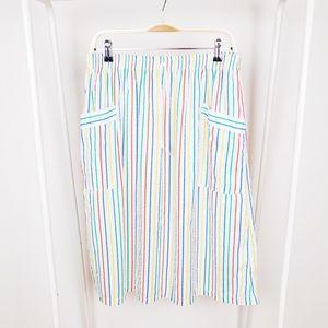 Vintage Rainbow Striped Cotton Midi Skirt